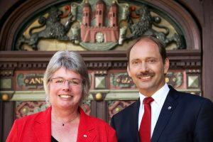 Karin Wiemer-Hinz, Stadtpräsidentin und Pierre Gilgenast, Bürgermeister Stadt Rendsburg