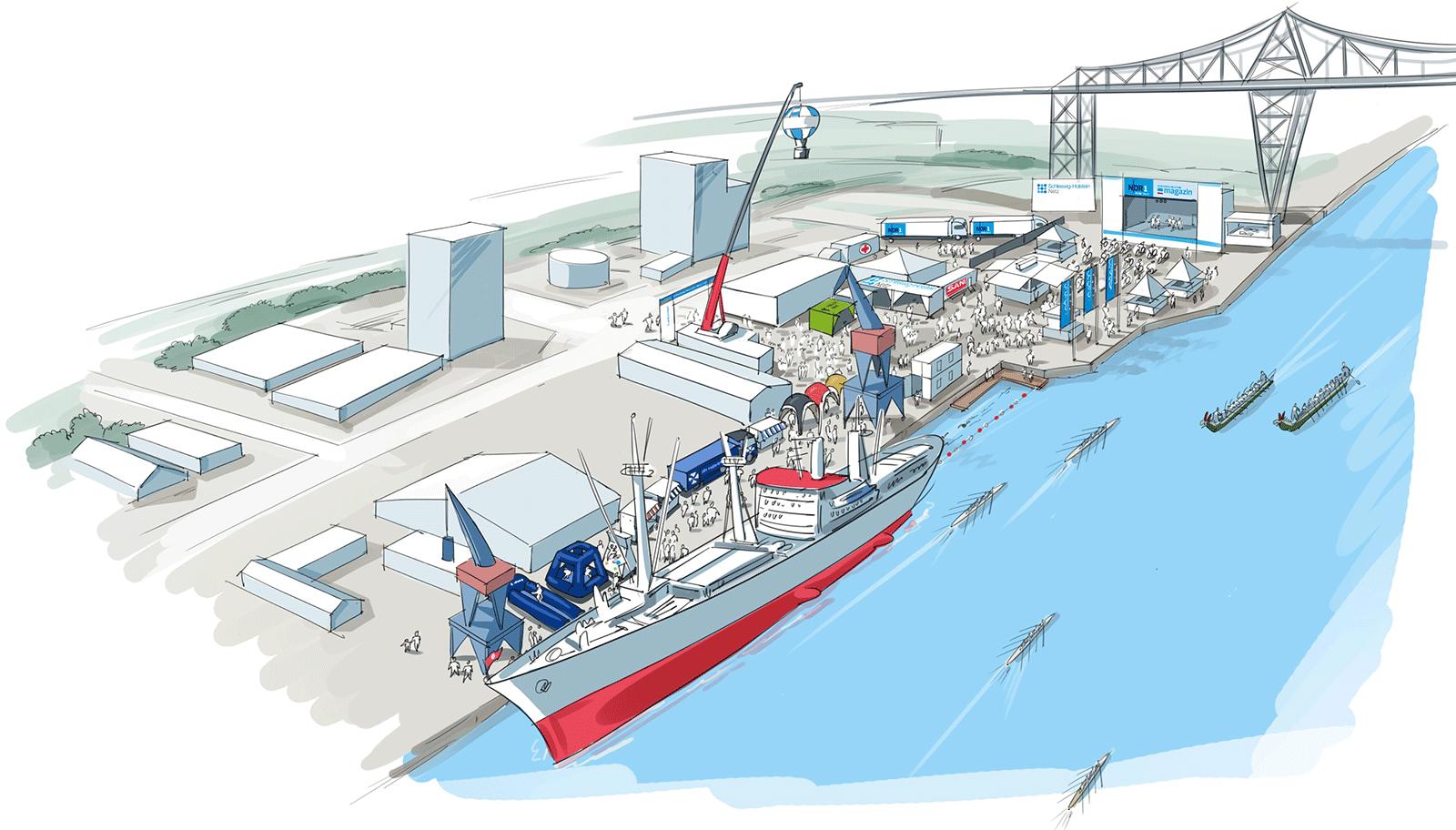 SH Netz Cup. Übersicht Kreishafen Rendsburg und NDR Bühne